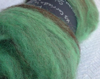 Fluffy Spinning Batt Fiber mint green chocolate brown wool Sparkle Art Batt Fibre Felting corriedale romney