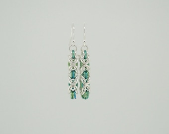 Green chainmaille earrings, sterling silver earrings, niobium earrings, hypoallergenic earrings