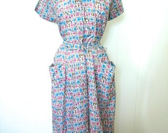 Vintage Dress Plus Size 40s Dress Dead Stock Novelty Fruit Print Day Dress  XL XXL - on sale