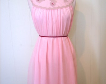 Vintage 50s Pink Night Dress / 1950s Pink Chiffon Negligee Night Gown with flower aplique M - on sale