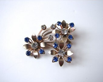 Vintage 40s Brooch Blue and Crystal Floral Pin - on sale