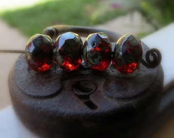 SALE Dark Scarlet Rondelles.  CZECH PICASSO Glass Beads . 6 by 8 mm (10)