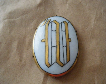 Monogram Brooch W Porcelain