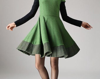 Wool dress, skater dress,Green dress, cap sleeve dress, midi dress, fit and flare dress, patchwork dress, knee length dress, Gift ideas 1081