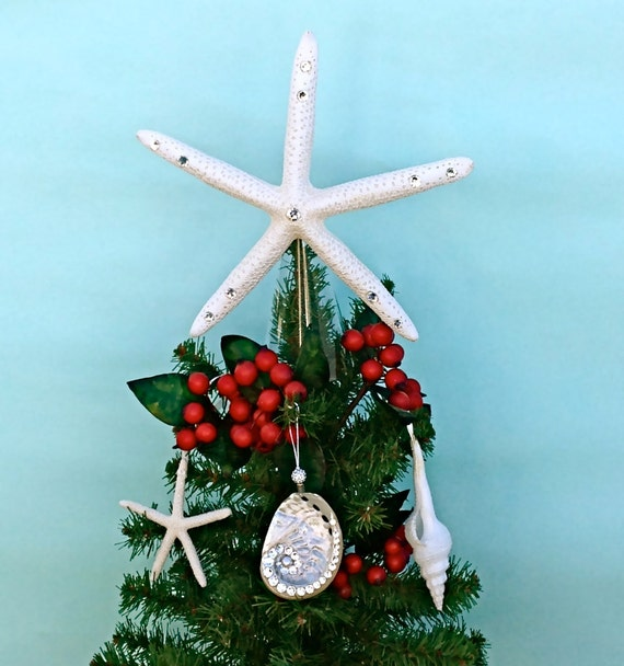 Beach Christmas Tree Topper: Choose Natural, Glitter, Or Crystal