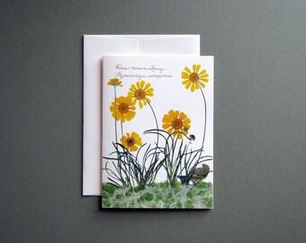 Four Nerve daisy, pressed flower card, tiny bird, botanical handmade greeting card, no.1184