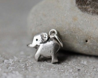 Baby elephant pendant, silver, on sterling silver chain. Tiny animal. Proceeds to charity, The David Sheldrick Wildlife Trust