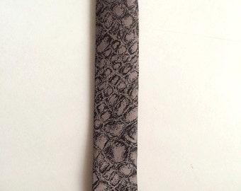 Vintage Neckties Men's 80's Super Skinny Tie, Tan, Black, Mod, Textured by Chicago Neckwear