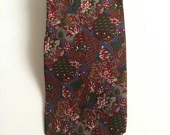 Vintage Neckties Men's 80's Dior, Silk, Colorful, Floral, Printed, Tie