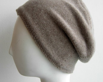 Pure Cashmere Rollup hat, Slouch beanie, cuff hat, oatmeal  FREE SHIPPING in the US