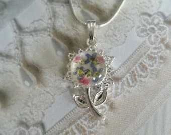 Sky Blue Forget-Me-Nots, Pink Veronica Flower Shaped Pendant-Symbolizes True Love, Memories-Nature's Wearable Art-Gifts Under 25