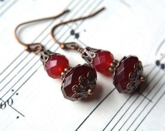Red Beaded Ombre Earrings Antiqued Copper Victorian Beaded Jewelry