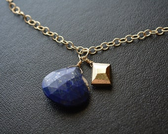 Lapis Pendant Necklace 14k Gold Filled Pyrite Lapis Lazuli Pendant Wire Wrapped Yellow Gold Fools Gold Midnight Blue Night Sky Necklace