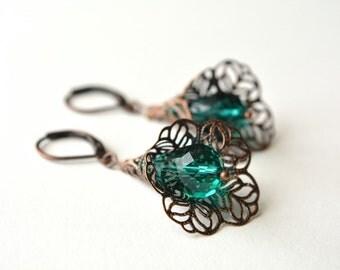 Emerald Copper Dangle Earrings Flower Filigree Leverback Antiqued Victorian