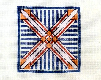 Vintage Geometric Embroidery Collectible Square Sample art / Needlepoint counted cross stitch / Needle craft / Handmade sewing tapestry 7x7