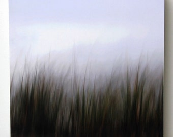 Green and Brown Abstract Photograph, Earth Tones, Grass, 8X8 Wood Panel,  Fine Art Photography,  Ready to Hang, Wall Art