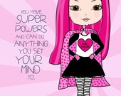 Girl with Super Powers // Art Print // Girls Room