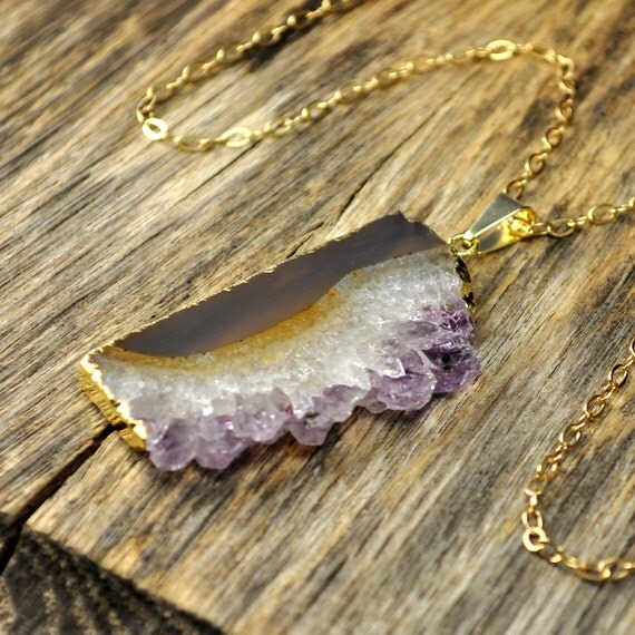 MOTHERS DAY SALE 10% Off, Sliced Amethyst Geode Druzy Gold Necklace, February Birthstone