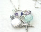 Long Necklace, Long Starfish Necklace, Beach Necklace, Beach Jewelry, Summer Necklace, Summer Jewelry, Long Necklace, Mint, Blue, Coin Pearl