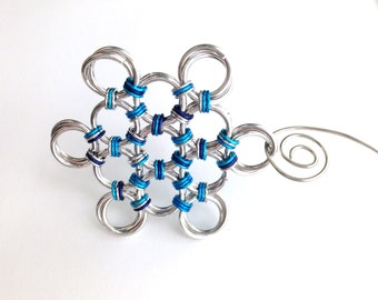 Large Chainmaille Snowflake Ornament, Silver Turquoise Indigo