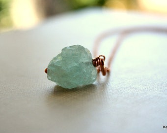 Gemstone Necklace, Raw Aquamarine Necklace, Rough Blue Green Stone, Handmade Jewelry, Gift for Women
