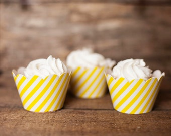 12 Cupcake Wrappers - Yellow Striped Cupcake Wrappers - Yellow Stripe Wrappers - Great for Birthday Parties, Baby Showers & Bridal Showers