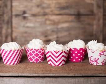 24 Hot Pink Cupcake Wrappers - PICK YOUR PATTERN - Pink Cupcake Wrappers - Great for Birthday Parties, Baby Showers & Wedding Receptions