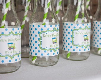 Train Themed Water Bottle Labels - Train Baby Shower Decorations in Aqua Blue and Green (12)