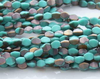 Matte Turquoise/Apollo Czech Pinched Beads 50 Glass Beads