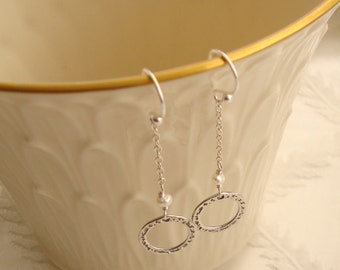 Small Wire Wrapped Sterling Silver Ring and White Pearl Dangle Sterling Silver Earrings