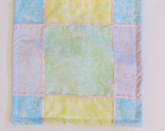 Pieced Matzo Cover in Pastels with ribbon Trim