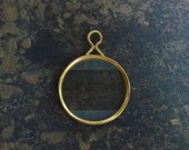 Brass Antique DIFFUSED EDGES Optical Lens French Monocle Steampunk Altered Art Pendant