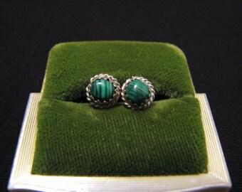 Vintage Western Sterling Silver Round Green Malachite Stud Pierced Earrings