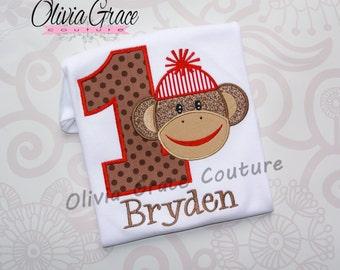 Sock Monkey Birthday Shirt, Embroidered Applique Bodysuit or Shirt for boys or girls