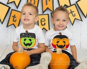 Boys Halloween Pumpkin Shirt, Frankenstein  OR Dracula Embroidered Applique Shirt or Bodysuit