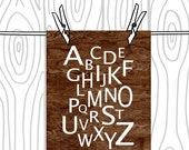 Alphabet Typography Home Decor Art Print -  8 x 10 Print - Faux Bois Dark Woodgrain  Kid's Room Decor Baby Decor