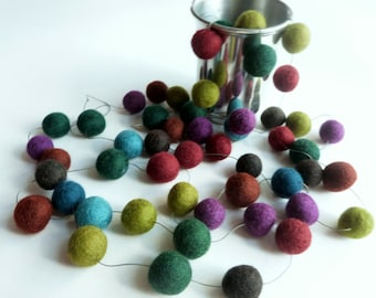felt garland -  holiday garland of felt balls in rich jewel colors - new years celebration decor  garnet teal amethyst green