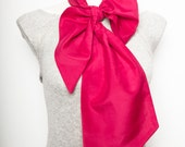Present Elegant Hand Made Large Silk Cotton Bow Scarf Water Melon Red Dark Pink Present