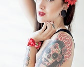 Miss Very Cherry Daisy Hair Flower - Red - Rockabilly - Pinup - Retro - 50s