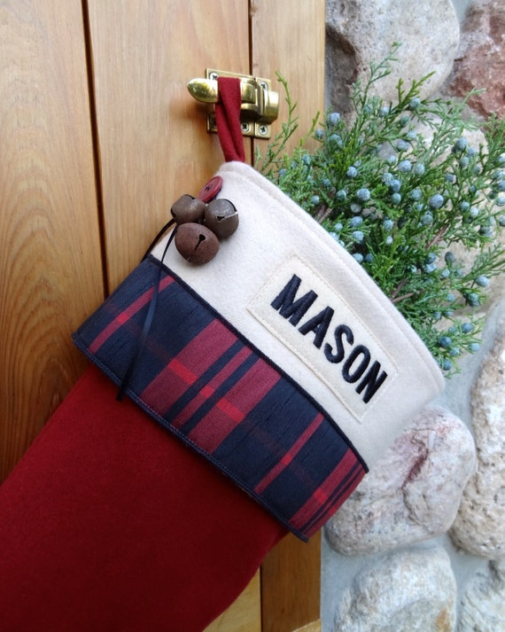 Old Fashioned Cabin Plaid Personalized Christmas Stocking Hand