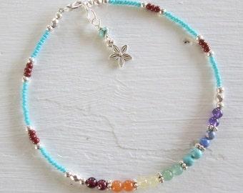 7 Chakra Anklet - Chakra Gemstones - Chakra, Yoga Jewelry