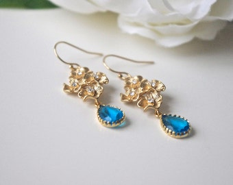 Wedding Jewelry, Flower Earrings, Flower Jewelry, Blue Earrings, Blue Jewelry, Drop Earrings, Dangle Earrings, Bridal Statement Jewelry