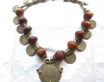 Ethnic Tribal  India  One Rupee Necklace with Old Resin Amber Beads