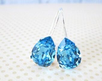 Ourania - Simple Swarovski Crystal Teardrop Earrings - Aquamarine Crystal Earrings, Silver plated, brides bridesmaid bridal simple earrings