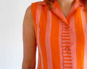 Mod Shirt Dress with Pink & Orange Striped Cotton. 1960s Vintage Size UK 12