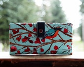 Womens clutch Wallet handmade custom clutch in blue bird