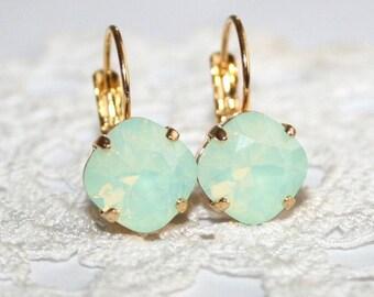 Seafoam Chrysolite Opal Golden leverback Earrings Mint Opal Earrings Swarovski Mint Crystal Rhinestone Earrings Mint green earrings 10mm