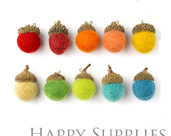 4 / 10 / 20Pcs Large High Quality Handmade Wool Felted Acorns Charms / Pendant (HWA-L4)