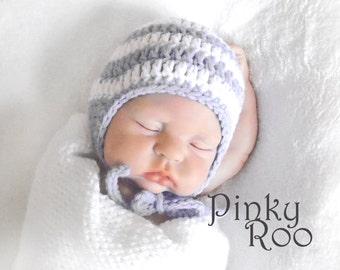 Baby hat / Grey stripes baby hat Hat/  grey baby hat / New Born photo prop