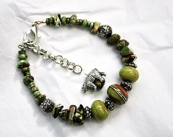 Pistachio Green Gaspeite Bracelet With Dangling Bear